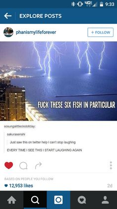 Whenever you read it imagine the lightning strikes hitting the fish.