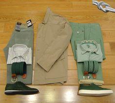 3/4 Beige SCHNEIDERS, Vaquero Verde TRUSSARDI, Pantalon verde JAVIER JAUREGUI, Camisa Rayas ROBERT FRIEDMAN, Camisa microraya Verde LUCKY DE LUCA