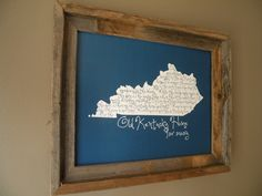 My Old Kentucky Home 11x14 UK Blue Map Print. $22.00, via Etsy.