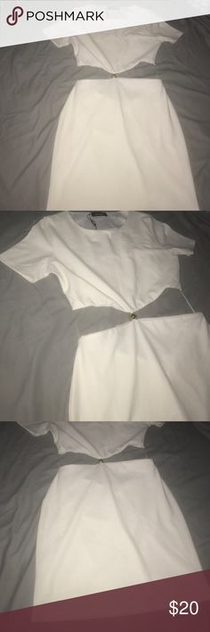 White dress with gold detail in middle. White dress cut out in middle with gold detail. Never worn. Missguided Dresses Midi