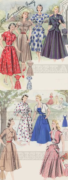 Late 40s early 50s style vintage dress suit jacket bolero full skirt novelty print dots floral red blue black tan white fashion print ad illustration drafting system SEWING PATTERNS booklet 28 x by borisbeka