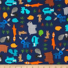 Kanvas Forest Friendzy Forest Friends Navy from @fabricdotcom%0A%0ADesigned by Greta Lynn of Kanvas for Benartex, this cotton print fabric is perfect for quilting, apparel and home décor accents. Colors include orange, brown, shades of blue, green and grey.