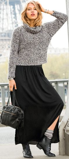 black and white gray sweater outfit - tips - http://www.boomerinas.com/2014/08/26/%ef%bb%bfgray-outfits-for-women-4-tips-for-wearing-gray-in-fall-winter/