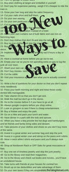 100 Unique Ways to Save Money You've Never Thought Of. The Rising Damsel #save #thrift #make #create #finances #financial #savings #retirement