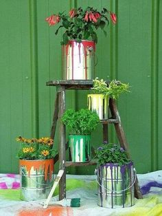 Paint cans turned into planters