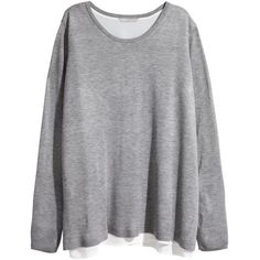 H&M+ Fine-knit jumper ($38) ❤ liked on Polyvore featuring tops, sweaters, plus size, tops & sweaters, grey, sleeveless tops, sleeveless sweater, plus size sleeveless tops, womens plus tops and gray wrap sweater