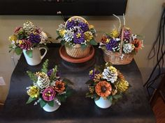 Pinecone flower arrangements by Cat Pinecone flower arrangements by Cat Pine Cone Art, Pine Cone Crafts, Pine Cones, Nature Crafts, Fall Crafts, Diy And Crafts, Christmas Crafts, Pine Cone Decorations, Christmas Decorations