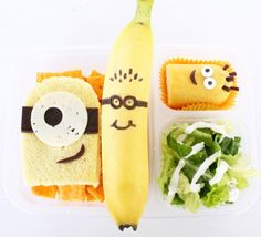 It's a minion-themed lunch with a peanut butter and jelly sandwich, topped with some cheese and fruit leather. Cheese crackers, salad, a banana and a twinkie made to look like a minion. My kids LOVED it because they love minions... and minions love bananas too :)