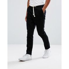ASOS Tapered Cord Trousers In Black ($49) ❤ liked on Polyvore featuring men's fashion, men's clothing, men's pants, men's casual pants, black, mens skinny fit dress pants, mens tall pants, mens skinny pants, mens tapered pants and mens corduroy pants