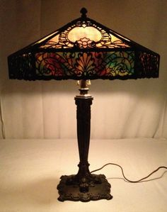 Bradley Hubbard Overlay Arts Crafts Stained Slag Lamp Mission Handel Era | eBay