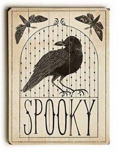 Black Bird Halloween Wood Sign