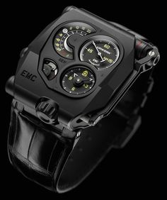 """Urwerk EMC Black Watch Presents The Dark Side Of Horological Tinkering - by David Bredan - see and read more on aBlogtoWatch.com """"It was only a few months ago that we went hands-on with Urwerk's amazing EMC watch and discovered its unique electro-mechanical venture into horology. Now, the brand has announced a new PVD coated version of the Urwerk EMC, dressing up this beast of a watch in a stealthy, matte black color..."""""""