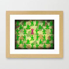 Little Green Army Unicorn Framed Art Print
