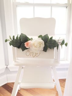 Decorated high chair from Floral 1st Birthday Party at Kara's Party Ideas. See…