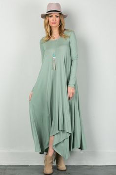 The Hailey Dress (Moss Green) - Dainty Jewell's Modest Dresses For Women, Modest Maxi Dress, Apostolic Clothing, Vacation Dresses, Evening Dresses, Duster Coat, Green, Jackets, Clothes