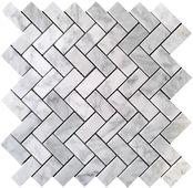 Carrara (Carrera) Bianco Honed 1x2 Herringbone Marble Mosaic Tile - master bath