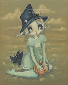 Witch girl art print black cat blue big eye lowbrow by WhiteStag