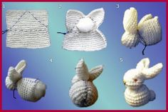 a nice easter bunny made from a knitted square Knitted Animals, Knit Or Crochet, Cute Bunny, Dollar Stores, Easter Bunny, Free Pattern, Projects To Try, Crochet Patterns, Place Card Holders