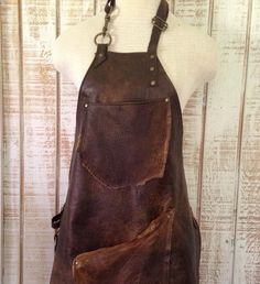 Leather Utility Apron Blacksmith Apron Craftsman by OldSoulBags