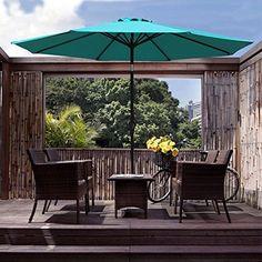 COBANA-Patio-Aluminum-Umbrella-Outdoor-Table-Push-Button-Tilt-Crank-8-Steel-Ribs