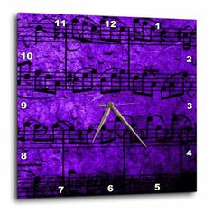 3dRose Musical Interlude in Purple Blue, Wall Clock, 15 by 15-inch