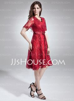 A-Line/Princess V-neck Tea-Length Charmeuse Lace Mother of the Bride Dress With Sash Crystal Brooch (008005631) - JJsHouse