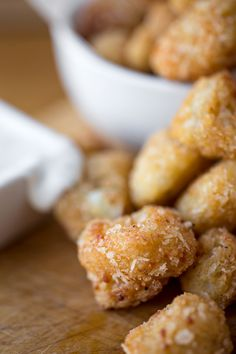 "Crispy Parmesan-Cauliflower ""Poppers"" with Creamy Buttermilk Ranch Dipping Sauce"
