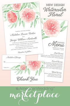 Watercolor Floral Wedding Stationery Suite from The American Wedding! Irish Wedding, Fall Wedding, Dream Wedding, Wedding Ceremony, Wedding Stuff, Summer Wedding Invitations, Wedding Invitation Design, Pink Green Wedding, Floral Wedding Stationery