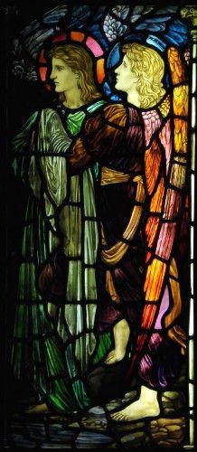 Attendant Angels, stained glass by William Morris Stained Glass Church, Stained Glass Angel, Stained Glass Windows, Leaded Glass, Angel Williams, William Morris Art, Edward Burne Jones, I Believe In Angels, Pre Raphaelite