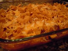 FRITOS CHEESE CASSEROLE --  Having a holiday gathering?  This is a crowd pleaser --       1 lb. hamburger  1-2 Tbsp. dried onion OR 1/2 onion, chopped  1 can chili  1 (10oz.) can cream of chicken soup  1 can tomato sauce  salt and pepper to taste  1 bag Fritos  1 C. cheese