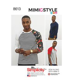 Make your own stylish top with this Mimi G Style for Simplicity sewing pattern. The pattern includes a knit top with raglan sleeves and a choice of Henley, crew or v-neckline. Kwik Sew Patterns, Vogue Patterns, Simplicity Sewing Patterns, Dress Sewing Patterns, Sewing Men, Sewing Clothes, Mimi G Style, Stylish Tops, Pattern Fashion