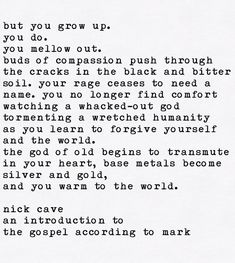 Repost from RPP (@the.nickcave.typewriter) on Instagram: The Gospel According To Mark by Nick Cave