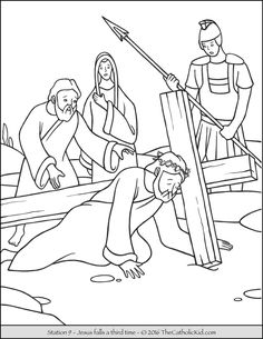 Stations of the Cross Coloring Pages 2 Jesus carries His cross