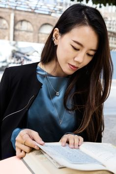 On the blog tonight, we introduce you to a really special member of our team... Born the year of the Rabbit, she mixes here her favourite Chinese Zodiac necklace with our Fitzgerald Triangle one and a stack of Fitzgerald ear cuffs, all in silver to match her deep blue silk blouse.   Read the blog post: