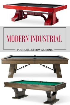 Vast selection of modern industrial pool tables. Find billiards tables with a unique combination of wood and industrial features or explore the option of a 100% steel pool table.