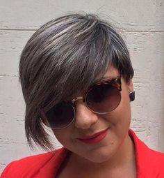 short haircut with long bangs and gray babylights