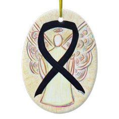 Black Awareness Ribbon Angel Pendant Ornament for Anti-Gangs