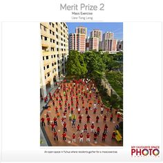** Public Spaces in Our City - What makes a public space a great place for the community? ** Merit Prize winner of #URA's 'My Favourite Space' Photo Competition Liew Tong Leng captures a shot of #Yuhua residents taking part in a mass #exercise #sgheartlands