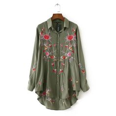 >> Click to Buy << Army Green Embroidered Blouse Shirt Women Tops Blusas mujer 2017 chemise femme Long Sleeve Floral blouses camisas femininas  #Affiliate