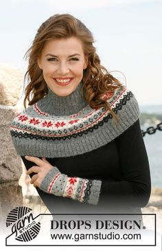 """Knitted DROPS neck warmer and wrist warmers with Norwegian pattern in """"Alpaca"""". ~ DROPS Design"""
