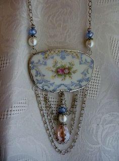 Broken China JewelryBib NecklaceFloral NecklaceOOAK by DLTrinkets, $50.00                                                                                                                                                                                 More