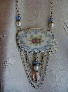 Broken China JewelryBib NecklaceFloral NecklaceOOAK by DLTrinkets, $50.00