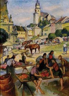 Gejza Angyal (1888-1956) Trh v Kremnici Painters, Folk, Modern, Art, Art Background, Trendy Tree, Popular, Kunst, Forks