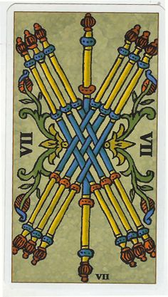 Tarot of Marseille - Seven of Wands