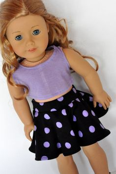 Black with Purple Polka Dots Skater Skirt with Purple Crop Top 18 inch Doll Clothes