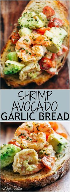 Need appetizer, lunch, or some serious snack inspiration? Shrimp Avocado Garlic Bread would have to be the next BEST thing to garlic bread!   https://cafedelites.com