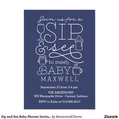 Sip and See Baby Shower Invitations                                                                                                                                                                                 More