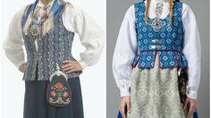Blå Nord-trønderbunad og trønderbunad. Begge i rokokkostil. (Foto: Bunadsaum, Husfliden) Folk Costume, Costumes, Trondheim, Norway, Pattern, Image, Google Search, Wedding, Fashion