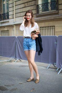 white blouse + high waist denim shorts