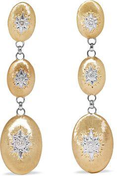 BUCCELLATI MACRI 18-KARAT YELLOW AND WHITE GOLD DIAMOND EARRINGS. #buccellati #